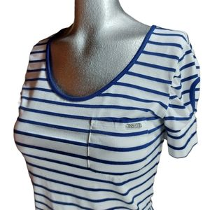 🌼3/$30 Guess White/Blue Striped Tee Small